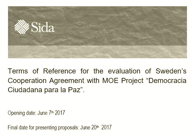 """Evaluación del proyecto """"Democracia Ciudadana para la Paz"""""""