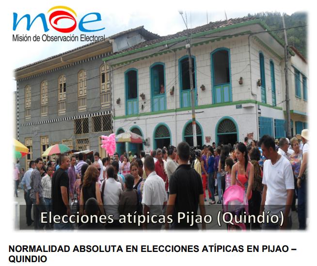 Elecciones atípicas Pijao Quindío 2013