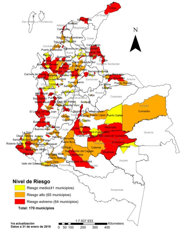 Municipios donde confluyen riesgos de violencia y de fraude