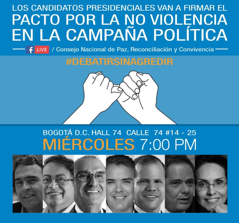 Candidatos firmarán Pacto de no violencia