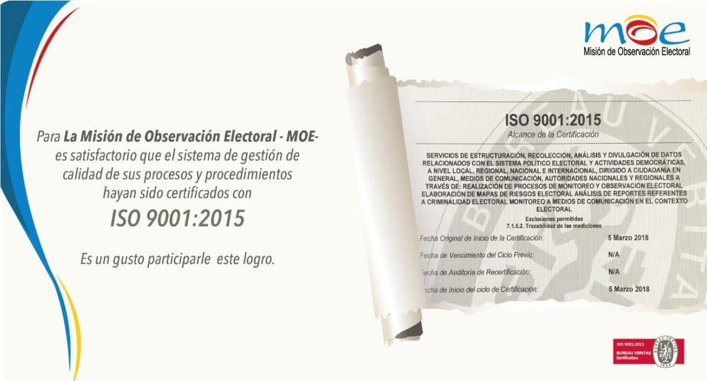 MOE recibe certificación de calidad ISO 9001:2015